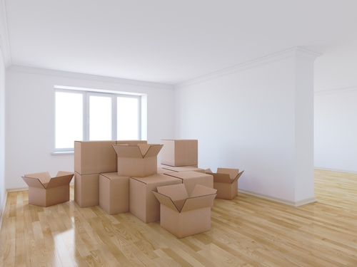 Moving boxes in an empty house